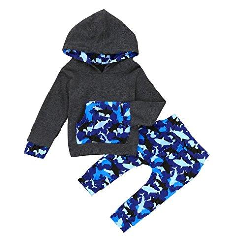 6-24 Mois Bebe Garcon Automne Pullover Survêtement Ensmble Sweatshirt et Panta Camouflage Oufits (6M)