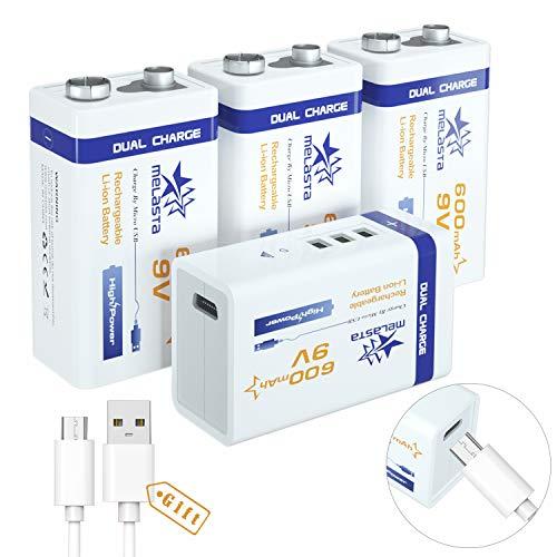 melasta USB 9 V 600mAh Akku wiederaufladbar Li-Ion 6F22 PP3 MN1604 6LR61 9V batterien mit USB-Kabel...