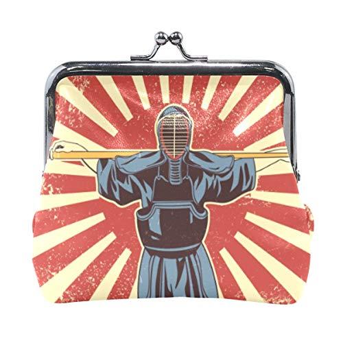Kendo - Portamonete giapponese con spada di arti marziali, stile vintage, in pelle PU, per donne, ragazze, adolescenti e bambini