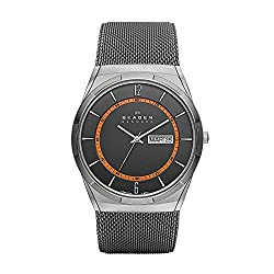 Skagen Men's Aktiv Titanium Analog-Quartz Watch with Grey Ion-Plated Stainless Steel Mesh Strap, 28 (Model: SKW6007)