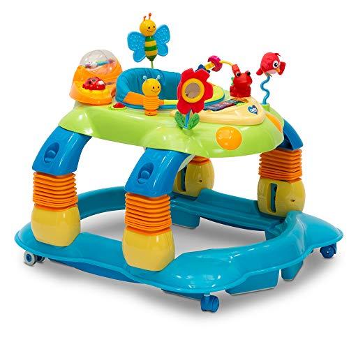 Delta Children Lil' Play Station 4-in-1 Activity Walker - Rocker, Activity Center, Bouncer, Walker - Adjustable Seat Height - Fun Toys for Baby, Blue