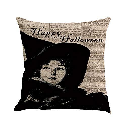Mamum - Housse De Coussin en Coton Maison Canapé Halloween Décoration Citrouille (C)
