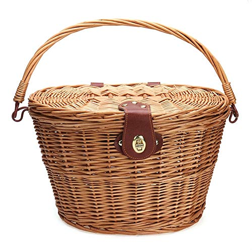 heshuo Cesta de mimbre de la compra portátil cesta de la compra con la cubierta de la bicicleta de montaña cesta de verduras protección cesta