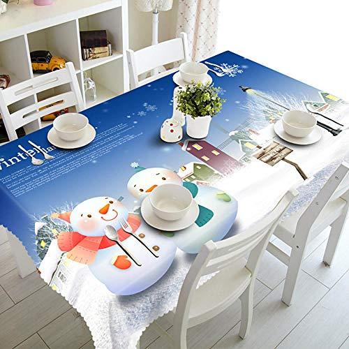 FUYNVCFE Mantel Antimanchas Mantel De Muñeco De Nieve 3D Lindo Feliz Navidad Escena De Nieve De Invierno Impermeable Espesar Mantel Rectangular Y Redondo para Bodas-F_80_X_150Cm