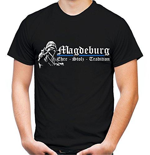 Magdeburg Ehre & Stolz Männer und Herren T-Shirt | Fussball Ultras Geschenk | M1 FB (Schwarz, L)