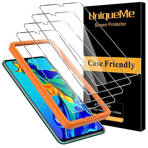 UniqueMe [4 pièces] Protection écran pour Huawei P30, [9H Dureté][sans Bulles] Ultra Résistant Film Verre Trempé pour Huawei P30 avec Cadre d'installation