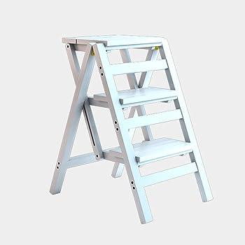 WCS Escalera multifunción Taburete Hogar Madera maciza IKEA Niños Silla plegable Provincia Espacio Escalera de cuatro pasos de doble uso Ascendente Escalera Color 42 × 55 × 68 cm (Color : White): Amazon.es: Bricolaje y herramientas