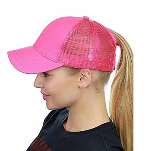 Dasongff Mode Pferdeschwanz Kappe Einstellbare Baseballmütze Coole Mütze Hip-Hop Mesh Cap Sonnenhut Strandhut Freizeithut (Rose Rot)