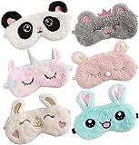 Bascolor 6 Piezas Unicornio Antifaz para Dormir Niños Máscara para Dormir Unicornio Conejito Panda Animal Máscara de Ojos Venda Viajar Siesta Mujer Niña