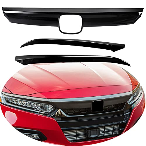 MotorFansClub Front Grille Cover Moulding Trim fit for compatible with Honda Accord 2018 2019 ABS Glossy Black Lip Bumper, 3PCS