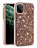LUUDI Case for iPhone 11 Pro Max Case Glitter for Girls Women Bling Rhinestone Sparkly Crystal Diamond Dual Layer Shell Shockproof Heavy Duty Protective Case for iPhone 11 Pro Max 6.5 inches Rose Gold