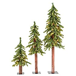 commercial A set of natural alpine Bickerman trees with three trees aged 2, 3 and 4 inches, illuminated by 185 bright lights pre lit tree