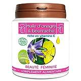 Complexe 2 Huiles | Onagre Bio | Bourrache Bio | Vitamine E | 200 capsules | Beauté De La Peau - Féminité | 504,5mg | dosage...