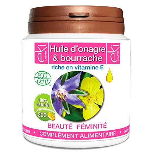 Complexe 2 Huiles | Onagre Bio | Bourrache Bio | Vitamine E | 200 capsules | Beauté De La Peau - Féminité | 504,5mg | dosage 100% naturel | EKI LIBRE