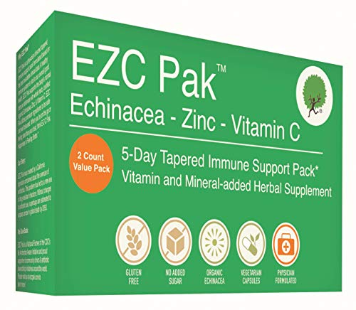 EZC Pak 5-Day Immune System Booster for Cold and Flu Relief (Pack of 2) - Echinacea, Zinc, and Vitamin C, Physician Directed 5-Day Tapered Immune Support Dose Pack