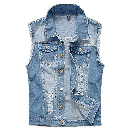 Women's Plus Size Denim Vest Sleeveless Cowboy Waistcoat Retro Ripped Gilet Jacket Top
