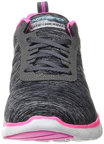 Skechers Flex Appeal 3.0, Zapatillas Mujer, Negro (Black Mesh/Pink & Blue Trim Bkmt), 38 EU