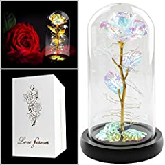 🎁Forever rose: This colorful rose flower will never wither and die. The Eternal Rose Flower is perfect and impeccable. It is as full of infinite hope and beauty as a rainbow.And it will bring you infinite love and beauty. 🎁Glass flowers: Glass rose m...