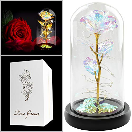 Colorful Artificial Flower Rose Gift, Led Light String on The Colorful Flower,Lasts Forever in A...