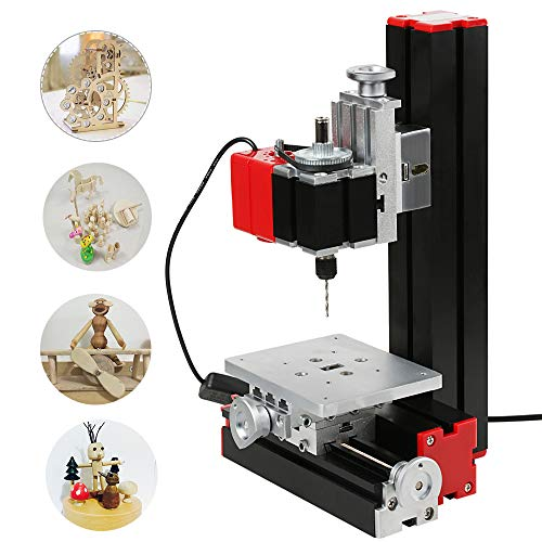 KKmoon Mini DIY 6 in 1 Multi-functional Motorized Transformer Jigsaw Grinder Driller Hardware Lathe Wood Lathe Drilling Sanding Turning Milling Sawing Machine Tool Kit Metal Version