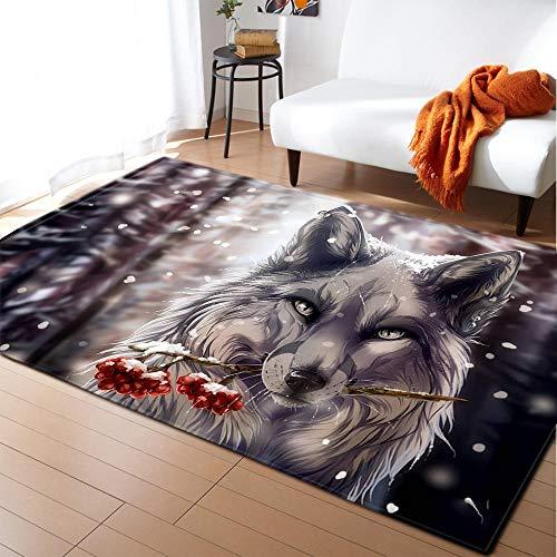Alfombra Salon Lobo Animal Gris Alfombras de Habitacion Vinilica Salón Moderno de...