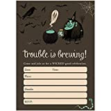 Witch Halloween Party Invites & Envelopes ( Pack of 25 ) Trouble Is Brewing Spooky Kids Children's Party Fill-In Large Blank 5x7' Fill In Costume Parties Excellent Value Invitations