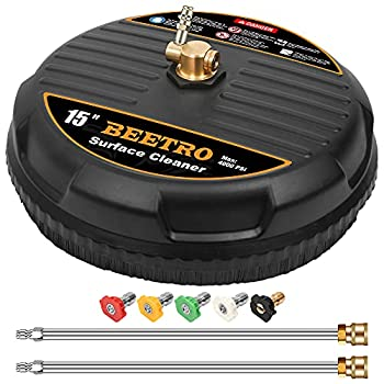 BEETRO Pressure Washer Surface Cleaner 15 Inch Surface Cleaner with 2 Pressure Washer Extension Wand Attachment for Cleaning Driveway Sidewalk Deck Patio 4000 PSI