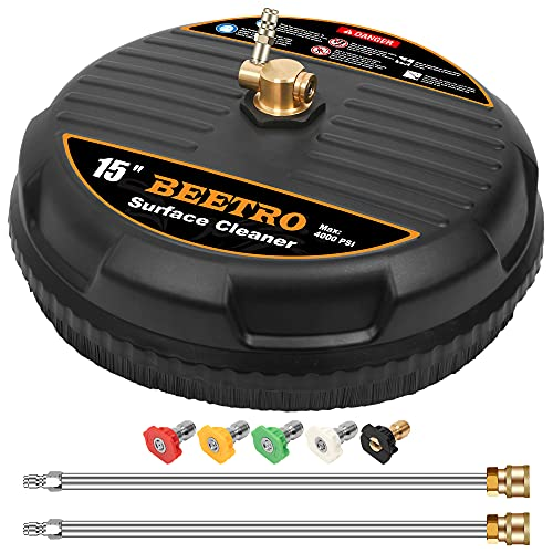BEETRO Pressure Washer Surface Cleaner, 15 Inch Surface Cleaner with 2 Pressure Washer Extension Wand Attachment for Cleaning Driveway, Sidewalk, Deck, Patio, 4000 PSI