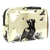 Neceser portátil de maquillaje con cremallera bolsa de viaje para mujer práctico almacenamiento cosmético bolsa gato mirando hacia arriba a pájaros voladores en el cielo