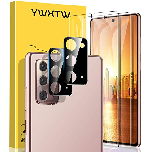 [4 Pack] YWXTW Screen Protector for Samsung Galaxy Note 20 Tempered Glass + Samsung Galaxy Note 20 Camera Lens Protector, [Support Fingerprint Unlock] Glass Camera Screen Protector (Transparent)