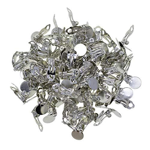 100 Juegos De Metal Bandeja Redonda Plana Latón Clip-on Pendientes Componentes De Configuración De Aretes, 18x10x7mm, Bandeja: 10mm - Platino, Tal como se Describe