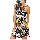 RONGYP Vestido de verano para mujer, sexy, estampado, vestido de ocio, cuello redondo, vestido midi, corte ajustado, línea A, con volantes, vestido de playa con bolsillos azul XXL