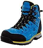 GUGGEN Mountain PM025 Damen Trekking-& Wanderstiefel Wanderschuhe Trekkingschuhe Outdoorschuhe wasserdicht mit Membran und Leder Farbe Blau-Gelb EU 38*