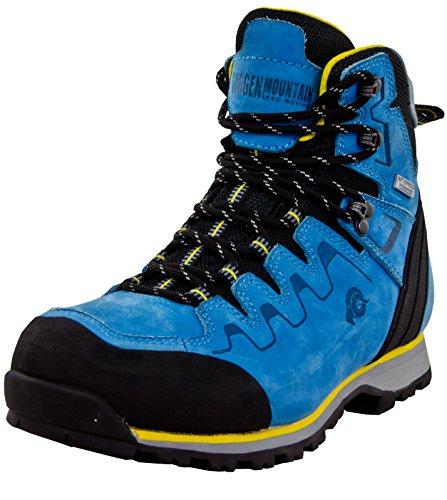GUGGEN Mountain PM025 Damen Trekking-& Wanderstiefel Wanderschuhe Trekkingschuhe Outdoorschuhe wasserdicht mit Membran und Leder Farbe Blau-Gelb EU 41