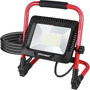 Foco de Trabajo LED 50W, HYCHIKA 5500 LM, 6500K Blanco Brillante, Impermeable IP65 para Uso en Exteriores, Luz de Trabajo Portátil Led, para Obras, Jardines, Garajes[Clase de eficiencia energética A++