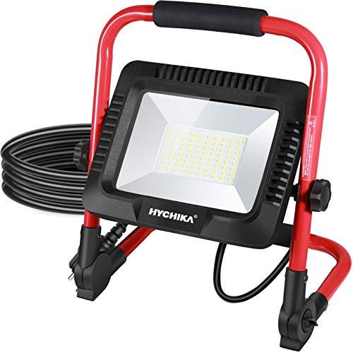 Faretto LED da Cantiere 50W, HYCHIKA IP65 Impermeabile, Faro LED Portatile con 6500K per Esterno, Lavori, Giardini, Garage, Regola Luminosità, Cavo 3M, con Staffa Pieghevole, Rotazione 360°