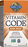 Garden of Life Iron Supplement, Vitamin Code Raw Iron - 30 Vegan Capsules, 22mg Once Daily Iron, Vitamins C, B12, Folate, Fruit, Veggies, Probiotics, Iron Supplement for Women, Energy, Anemia Support