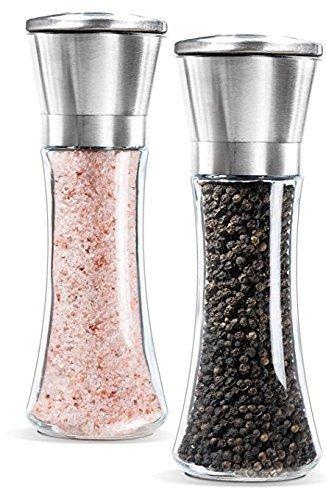 Tirex Home Premium acero inoxidable molinillo de sal y pimienta Set, acero inoxidable cepillado de sal y pimienta, 6oz cristal de alto cuerpo, 5Grado ajustable cerámica rotor- salero y pimentero, juego de 2