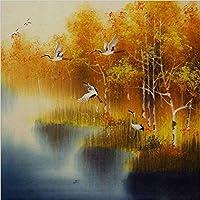 大人と子供のためのDiy 5Dダイヤモンド絵画キットアート 白い鶴の秋の風景, 壁の装飾のためのツールアクセサリーとフルドリルラウンドダイヤモンド刺繍クロスステッチクラフトセット -60x60cm