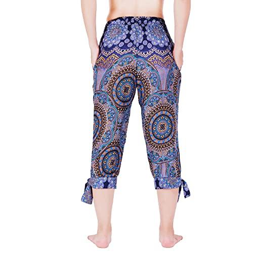 Lofbaz Pantalones Capri con Hendidura en la Parte Inferior con Bolsillos para Mujer Boho Harem Yoga Lounge Pijamas Playa Verano Flor Azul Oscuro XL
