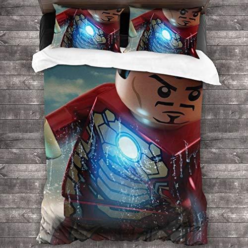 Hd Lego Ma-rvel Sup-er He-roes- Juego de funda de edredón para cama de matrimonio (1 funda de edredón y 2 fundas de almohada) de microfibra