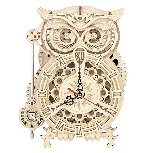 XSBBY 3D Wooden Puzzle Owl Clock Kit, DIY Assembly Model Toy, Puzzle Educational Toy Gift for Kids, Teens and Adult.