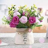 chuanglanja Flor Artificial para Decoracion Salón Aire Acondicionado Refrigerador Flor Decorativa Pequeña Maceta Rosa Roja Loto Color Rosa