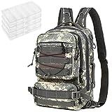 Lixada Mochila de aparejos de pesca, impermeable, bolsa de almacenamiento, mochila de hombro al aire libre, con caja de 4 aparejos para senderismo, camping, caza, tiro y pesca