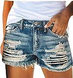 Skrsila Pantalones Cortos Mujer Jeans Vaqueros Básicos Rotos Cintura Alta Verano Denim Hot Pants con Bolsillos Jeans Shorts de Borla