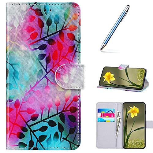 Kompatibel mit Huawei Honor Play 4T Handyhülle Leder Handytasche,Flip Case mit Bunt Muster Schutzhülle Brieftasche Magnet Kartenfächer Lederhülle Kratzfest Tasche Bookstyle Klapphülle,Blätter