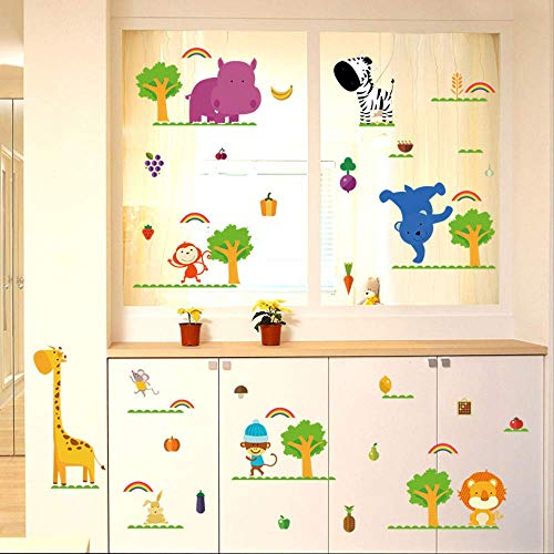 LWJZQT Wandtattoos Cartoon Gemüse Obst Tiere Wandaufkleber Baum Regenbogen Kinderzimmer Jungen Schlafzimmer Wandgarderobe Aufkleber