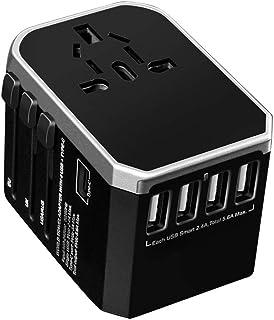 海外電源プラグ 変換プラグ 電源プラグ 海外電源変換アダプタ USB機器対応 海外旅行用 トラベル 旅行者向け 多機能 世界200ヶ国以上対応 USBポート Type-Cポート ブルー