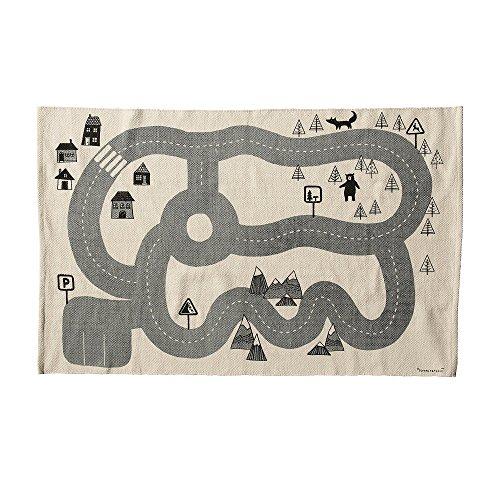Bloomingville Kinder-Spielteppich/ Straßenteppich schwarz-weiß