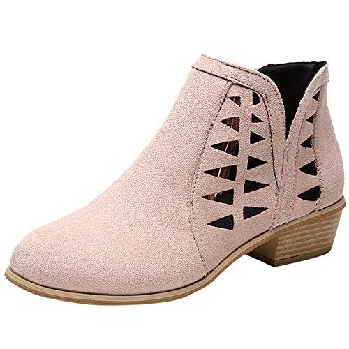 manadlian Bottine Femmes Plates Boots Cheville Basse Bottes Talon Chelsea Chic Compensé Grande Taille Chaussures 5cm Chaussures Casual Boots Slip-on Ankle Booties Hollow Shoes